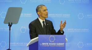 President Obama speaking at the CVE Summit, photo courtesy of Department of State