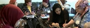 Refugees receiving services, photo courtesy of ICNA