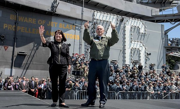 Vice President Mike Pence and wife KarenPence. By U.S. Navy photo - https://www.dvidshub.net/image/3321536/vice-president-michael-r-pence-aboard-uss-ronald-reagan (gallery), Public Domain, https://commons.wikimedia.org/w/index.php?curid=58175478