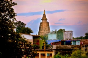 The Mahabodhi temple from my rooftop
