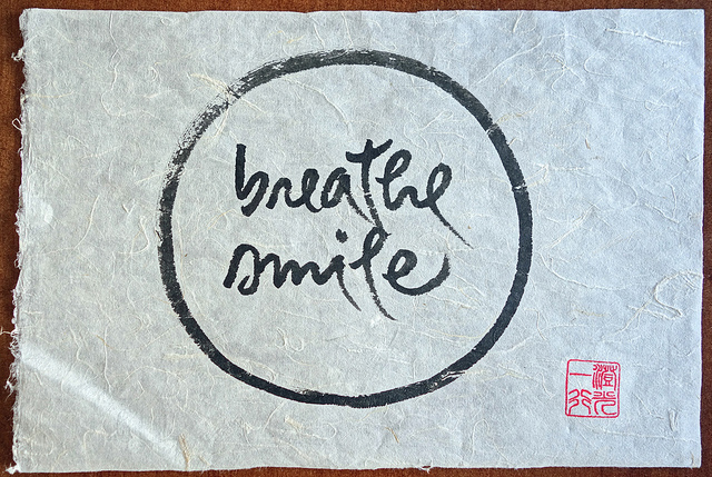 Thich Nhat Hanh calligraphy art - Breathe Smile by Bill Damon Flickr C.C.