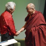 David Suzuki and the Dalai Lama at the Environmental Summit 2013 Portland Oregon (photo by Colleen Benelli flickr C.C.)