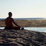 Achahn Chuen meditation; on a beach near Traverse City, MI (photo by Brian Ambrozy, flickr C.C.)