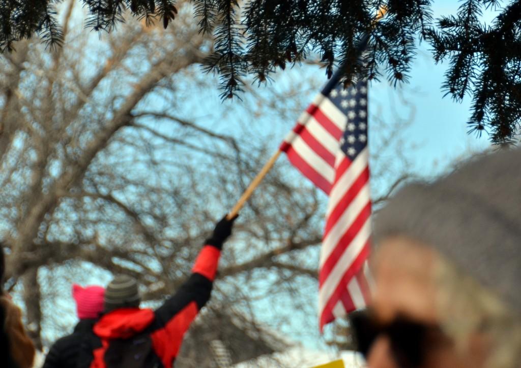 American Flag Held High.