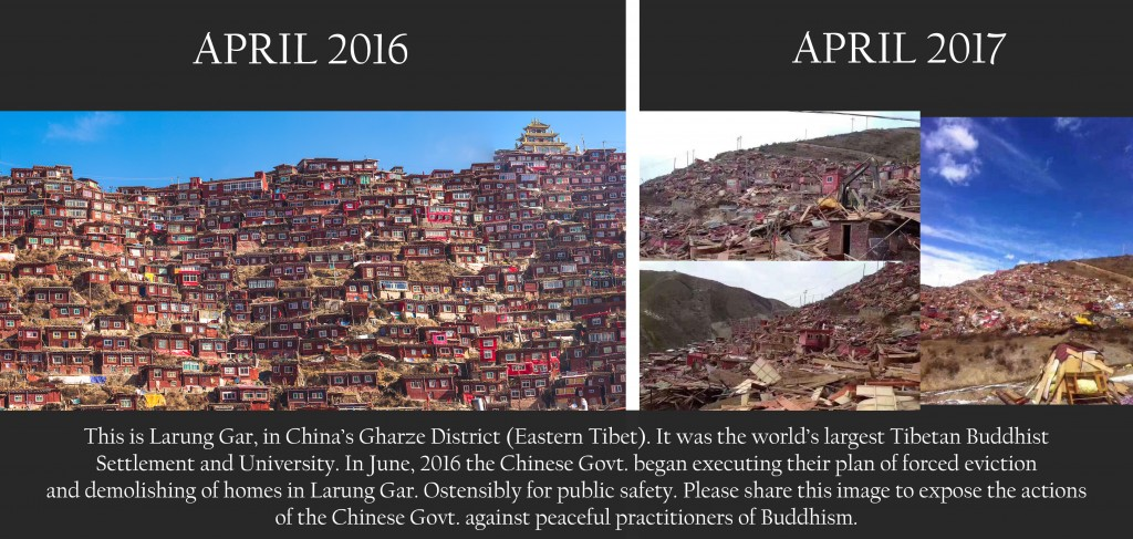 Larung Gar, Tibet - destroyed by Chinese authorities April 2017