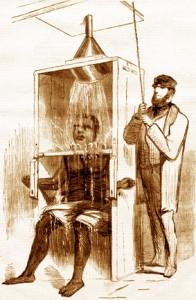 "An 1858 Harper's illustration of a freezing ""shower"""