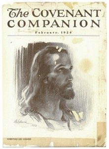 "February 1924 cover of The Covenant Companion, featuring the earliest version of Sallman's ""Head of Christ"""