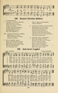 """Trygarre kan ingen vara"" on a hymnal page with ""Onward, Christian Soldiers"""