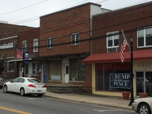 "Trump-Pence sign in ""Historic Hillsville"""