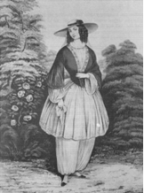 Woman in bloomer costume.  http://xroads.virginia.edu/~HYPER/HNS/domwest/mcauley.html