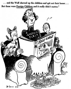 """Anti-America First cartoon: """"...and the Wolf chewed up the children and spit out their bones... But those were Foreign Children and it really didn't matter"""""""