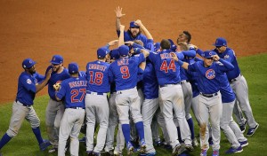 The Chicago Cubs celebrate winning the 2016 World Series