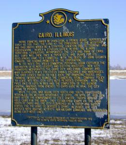 Historical marker on the outskirts of Cairo, Ill., c. 2009. Photograph taken by the author.