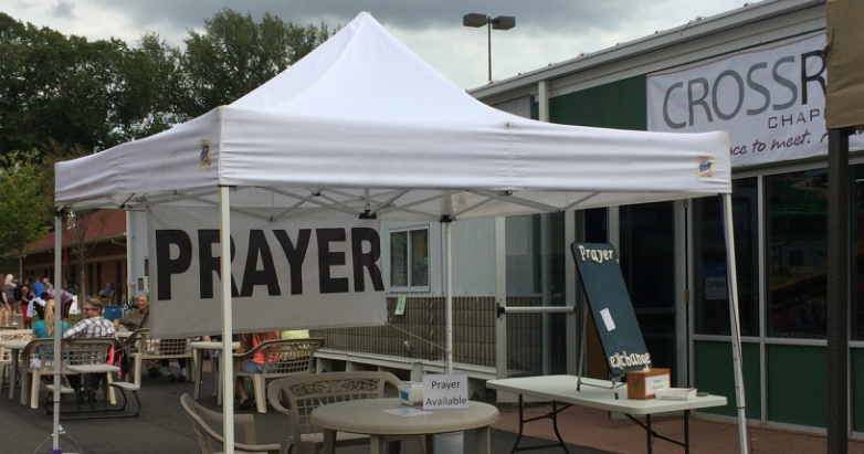 The prayer tent at the Crossroads Chapel