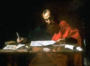 Valentin de Boulogne, Saint Paul Writing His Epistles, ca. 1618. If only it were all this simple...