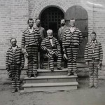John Walton Price, James C. Hamilton, Guard, George Q. Cannon (seated), Guard, Charles Nookes and A. J. Hansen in the Utah Penitentiary, 1888. (Source: http://www.stayfamily.org/showmedia.php?mediaID=247)