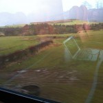 The Cumbrian countryside rushing past