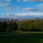 The view looking Northward from near the flagpole at the top of the hill in Queen's Park in Glasgow.