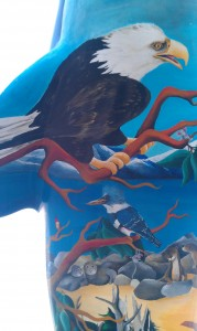 Eagle painted on the Orca Sculpture