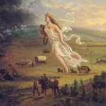 A white woman flies over the American West, white settlers following her, Native Americans fleeing in front.