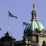 The Union Flag and two Saltires flying in Edinburgh on referendum day