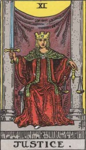 Justice Card in the Rider Waite Tarot