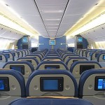 Economy seats in KLM widebody jet.