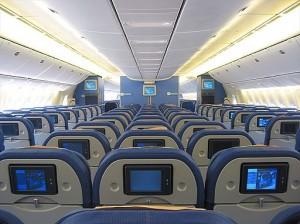 Economy seats in KLM widebody jet.