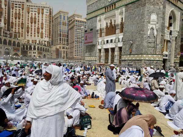 Sitting outside the Masjid e Harem (The Grand Mosque) in Makkah.