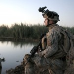 """In this picture I see clear eyes, patience, and preparedness. """"An infantryman assigned with Alpha Company, 2nd Battalion, 6th Infantry Regiment, 1st Brigade, 1st Armored Division, stands guard during a patrol as part of Operation Yorktown in Al Anbar Province, Iraq, Sept. 27, 2006. U.S. Marine Corps photo by Cpl. Trenton Elijah Harris."""" Public domain, via Wikimedia Commons."""