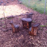 The adorable stump table and chairs in March. Room for three!