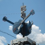 The crossroads of US 49 and 61 in Clarkesdale, MS; according to legend, the spot where Robert Johnson performed a ritual in order to gain skill as a musician. Photo by Joe Mazzola