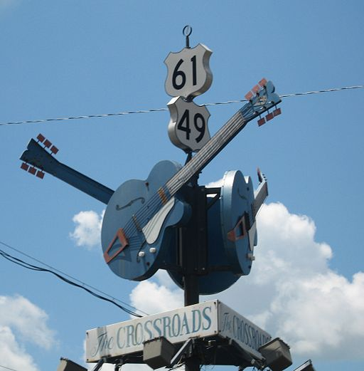 The crossroads of US 49 and 61 in Clarkesdale, MS. According to legend, this is the spot where Robert Johnson performed a ritual in order to gain skill as a musician. Photo by Joe Mazzola