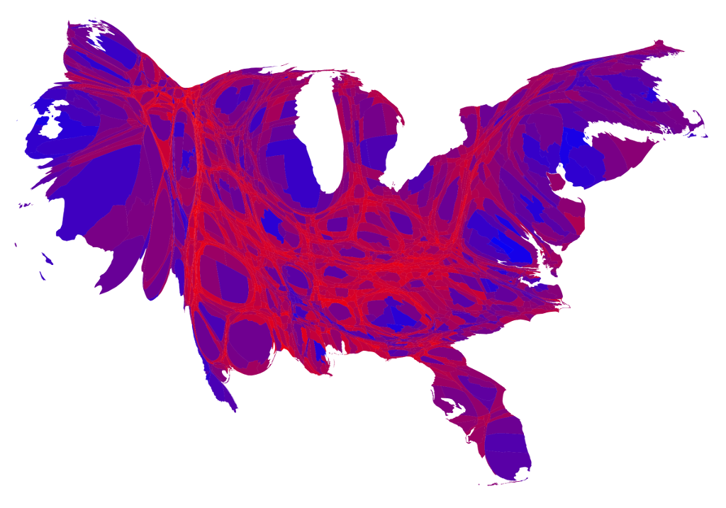 2016 Presidential Election cartogram - color represents county vote percentage, area adjusted by EC total