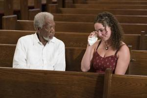 Morgan Freeman meets with Megan Phelps-Roper. Courtesy of NatGeo.
