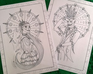 Maman Brigitte & Baron Samedi images taken from the Gods & Goddesses Colouring book (copyright Patterson 2016)