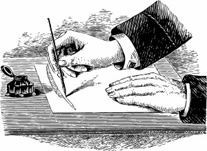 Writing Hand (digitized woodcut). Public domain image courtesy of Publicdomainimages.net.