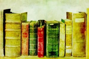 Old Books on Shelf by Karen Arnold. Courtesy Publiddomainpictures.net