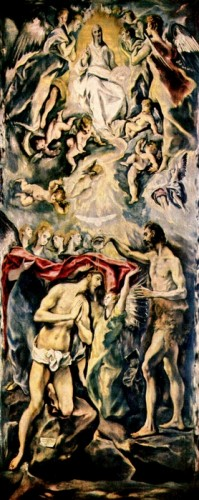 Replace 110  Baptism of Christ El GReco 1596-1600 Museo del Prado, Madrid vanderbilt