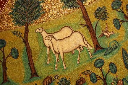 Christmas Eve Sheep in Paradise 549 CE. Mosaic. Ravenna,Italy.  Vanderbilt