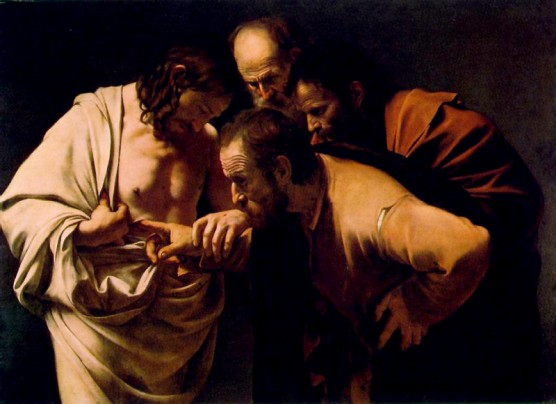 Easter 2 The Incredulity of St. Thomas, Caravaggio, Michelangelo, 1601-2, Postdam Germany Vanderbilt
