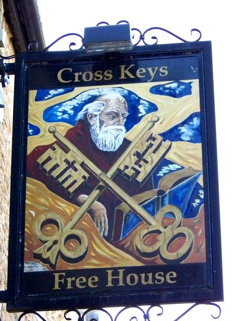 cross-keys pub sign, early 21st c. Great Britian painting panel. Vanderbilt
