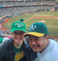 Bruce Reyes-Chow and Robin Pugh at the Athletics Tigers game 2013