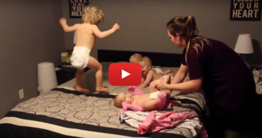 45 million people have viewed this video of mom dressing her four babies!