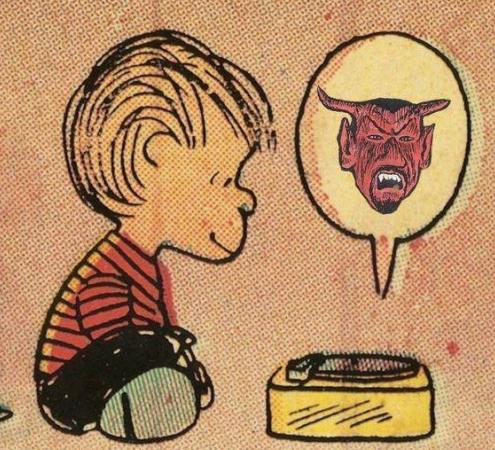 Charlie Brown's Linus listening to Stairway to Heaven backwards