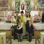 With Father Anthony in front of the beautiful altar at our Parish.