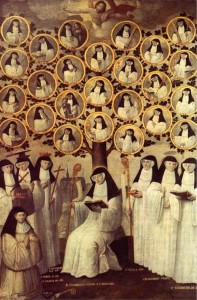 "Seventeenth century Dutch painting depicting a ""family tree"" of Cistercian holy women. Beatrice of Nazareth is in the bottom row of medals, second from the right."