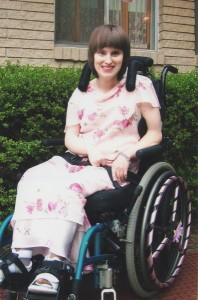 Rhiannon before her senior prom, 2007. Her wheel chair is decorated for the occasion.