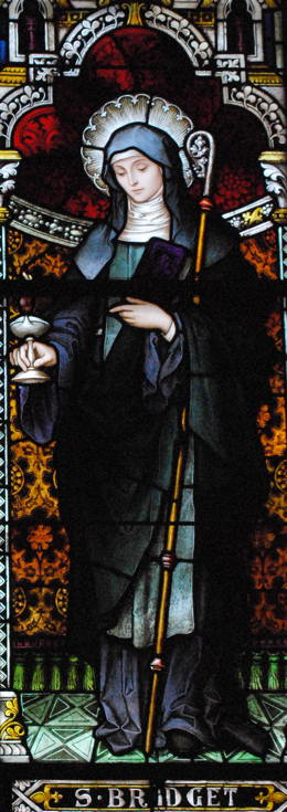 St. Brigid of Kildare Stained Glass (photo by Fran McColman), St. Joseph's Catholic Church, Macon, GA.
