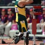 South Africa's Oscar Pistorius looks dej